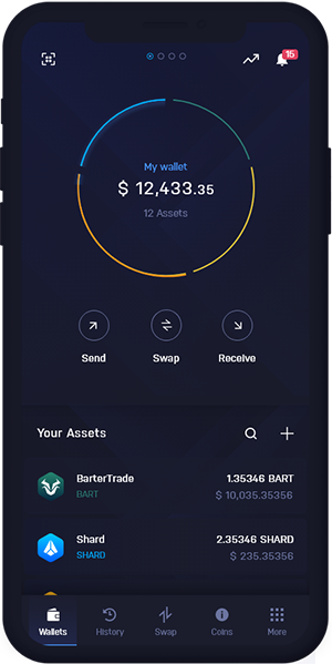 BarterTrade Wallet Mobile Dashboard | BART Wallet Mobile Dashboard