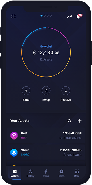 Reef Wallet Mobile Dashboard | REEF Wallet Mobile Dashboard