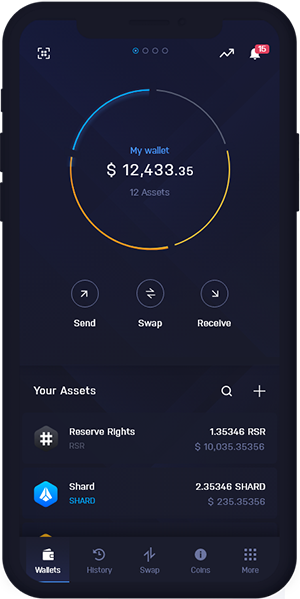Reserve Rights Wallet Mobile Dashboard | RSR Wallet Mobile Dashboard